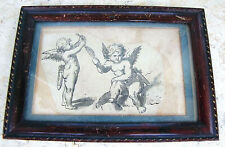 "CHRISTIAN BERNHARD RODE ANTIQUE WATERCOLOR  INK DRAWING ""CUPIDS"" 18th CEN. SIGN."