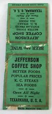 Old Matchbook Cover Jefferson Coffee Shop Texarkana USA