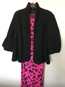 Vintage Black Persian Curly Lamb Karakul Swing Jacket Fur Coat