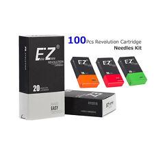 100Pcs EZ Revolution Tattoo Cartridge Needles Kit Tattoo Machine Grips Supply