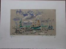 Lithographie de André HAMBOURG signée numérotée la régate mer bateaux **