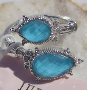 JUDITH RIPKA Sterling Silver TURQUOISE DOUBLET and TOPAZ Bypass RING Size 7 NEW