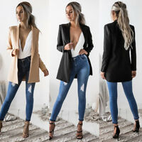 Womens Ladies Casual Long Sleeve Coat Suit Slim Top Blazer Jacket Outwear Formal