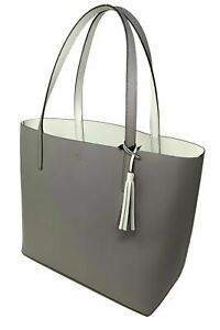 Kate Spade Lakeland Marina Reversible Gray - White Leather Tote WKRU5342 NWT FS