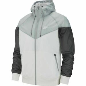 NIKE SPORTSWEAR WINDRUNNER HOODED JACKET WHITE GREY AT5270-102 MEN'S Sz M,L