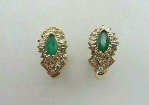 14K Yellow Gold 1.00 CT Emerald and 0.50 ct Diamond Earrings