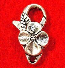 5 Pcs. Large Tibetan Silver FLOWER Lobster Clasps 26mm Jewelry Findings CL54