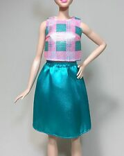 New TALL Size Barbie Fashionista Clothes: Pink & Teal Top and Skirt from #29.