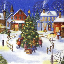 4x Paper Napkins -Christmas Village with Children- for Party, Decoupage Craft