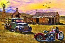 Harley Davidson Motorcycle Vintage Panhead Route 66 Country Farm Biker Art Print