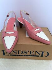 BRAND NEW LANDSEND PINK & WHITE LEATHER SLINGBACK HEELS SIZE 6/39