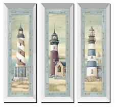 "NEW Set of 3 Lighthouse White Framed Art Prints Beach Coast Ocean Sea 6""x18"""