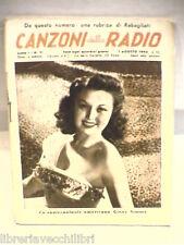 CANZONI DELLA RADIO N 11 1 Agosto 1945 Ginny Simms Musica Spettacolo Testi di e