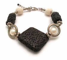 Bracelet with Black Square Sponge Rock Stone and Metal Beads and Pearls