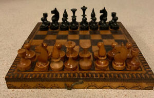 Vintage Wooden Travel Chess Set with stunning Complete pieces