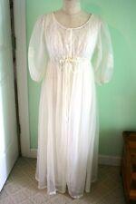 MISS ELAINE Vtg 70s Ivory Chiffon Floral Lace Peignoir Sleep Robe Gown Set M L