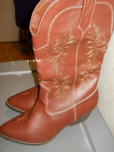 CINAK Shoes Womens Cowboy Boots Pointed Toe Western Casual Cowgirl size 11 (B225