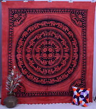Indian Elephant Mandala Wall hanging Hippie Tapestry Throw Queen Bedspread Decor