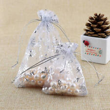 100pcs Snowflake White Jewelry Candy Organza Pouch XMAS Wedding Favor Gift Bag