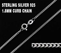 925 Sterling Silver Curb Necklace Chain Cuban Solid Real Italy Diamond Cut Link