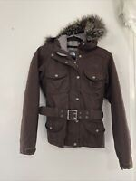 The North Face Womens Belted Ski/snow Jacket Size SMALL Brown With Fur Hood