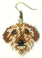 """A pair of hand beaded Wire Hair Dachshound dog dangle earrings 1 1/4"""" long"""