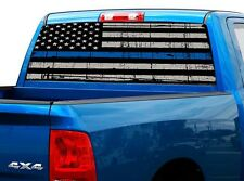 P472 Police Flag Rear Window Tint Graphic Decal Wrap Back Truck Tailgate