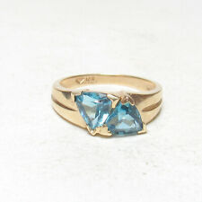 Estate 14K Yellow Gold Natural Trillion Cut London Blue Topaz Ring 2.00 Cts