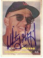 Whitey Herzog Signed Autographed Baseball Card 1957 Topps RC Rookie #29 GV865904