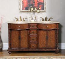 60-inch Bathroom Double Sink Vanity Travertine Stone Top Lavatory Cabinet 0193TR