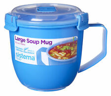 Sistema Large Blue Klip It Microwave Soup To Go Mug 900ml Clip Lid Lunch Work