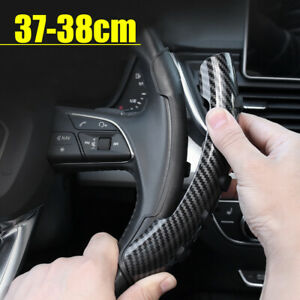 2PCS Carbon Fiber Non-Slip Steering Wheel Booster Cover Trim Car Accessories