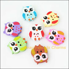 15Pcs Mixed Wooden Animal Owl Birds Buttons Fit Scrapbooking Sewing 17.5x21mm