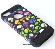 For iPhone SE 5S HARD & SOFT RUBBER HYBRID ARMOR SKIN CASE RAINBOW BLACK SKULL