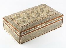Gorgeous Vintage Egyptian Wooden Mother-of-Pearl Inlaid Mosaic Large Trinket Box