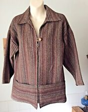 vintage 1970's wool blend smock style zipper top jacket ethnic hippie ~ M