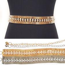 Bling rhinestone Full Metal Chain Belt Waist Hip Crystal Party Bridal Dress S~XL
