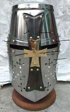 Medieval/Crusader Helmet Templar Knight Helmet Silver Finish Brass Desi.+Liner