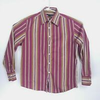 Theory Mens Size XL Shirt Long Sleeve Button Down Striped Purple Violet