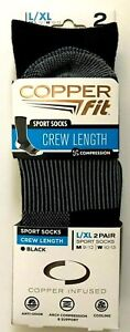 NWT 2 PAIRS MENS LARGE / XL COPPER FIT BLACK CREW LENGTH COMPRESSION SPORT SOCKS