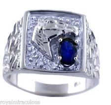 Ring 14K White Gold Lucky Sapphire & Diamond Horse Head