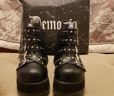 Demonia SCENE-30 Women's Black Vegan Leather 3 1/4 Platform Buckled Ankle Bootie