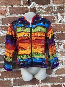 Childrens Rainbow Patchwork hoodie/jacket hippie/boho/festival age 2-3 Years