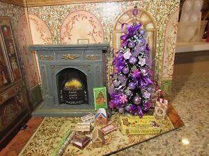 DOLLHOUSE MINIATURE CHRISTMAS TREE #21 (VIOLET AND LAVENDER) --OOAK