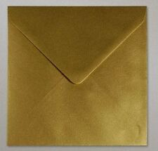 100x Square Gold Pearlescent Shimmer Envelopes 155mm, 6 inches 100gsm - Free P&P