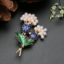 Enamel Blue and Green Diamante Scottish Thistle Brooch with pearls 35 mm x 55 mm