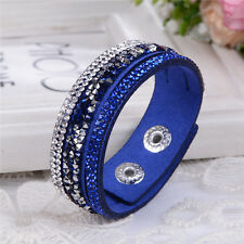 Elegante Pulsera De Cuero odre hecho con cristales de Swarovski-Azul