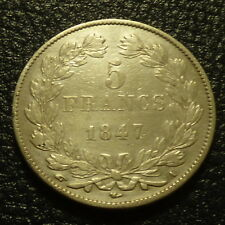 France 5 Francs Louis Philippe 1847 A silver 90% 25 g (quality VF)