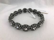 Ann Taylor Round Crystal Stretch silver color Bracelet Nwt $39.50 Stunning