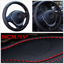 "Black&Red 38cm 15"" Universal PU Leather Auto Car Steering Wheel Cover Accessory"